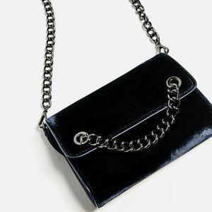 Zara Navy Velvet Shoulder Bag with Silver Chain